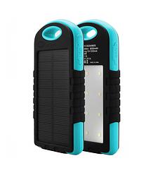 Power bank 12000 mAh Solar, (5V / 200mA), 2xUSB, 5V / 1A / 2.1A, микс-цвет, USB microUSB, ударо защищеный прорезиненный корп