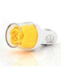 АЗУ NOKOKO Flower, 12V-USB, 5-5.5V, 2*USB, 10W, 2,1А, Yellow, Пакет Q50