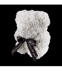 Мишка из 3D роз 25 см белый