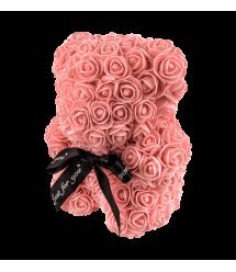 Мишка из 3D роз 25 см коралловый