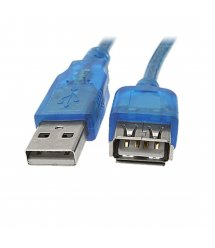 Удлинитель USB 2.0 AM / AF, 0.5m, 1 феррит, прозрачный синий Q500