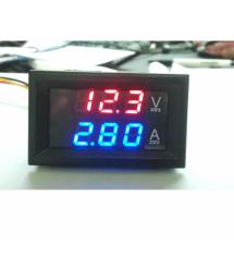 Светодиодный цифровой вольтметр-амперметр постоянного тока с двойным дисплеем DC0-100V 10A