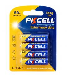 Батарейка солевая PKCELL 1.5V AA / R6, 4 штуки в блистере цена за блистер, Q12