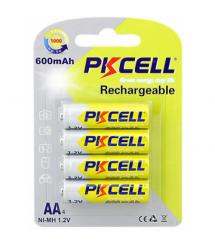 Аккумулятор PKCELL 1.2V AA 600mAh NiMH Rechargeable Battery, 4 штуки в блистере цена за блистер, Q12