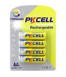 Аккумулятор PKCELL 1.2V AA 1300mAh NiMH Rechargeable Battery, 4 штуки в блистере цена за блистер, Q12