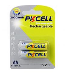 Аккумулятор PKCELL 1.2V AA 2000mAh NiMH Rechargeable Battery, 2 штуки в блистере цена за блистер