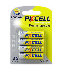 Аккумулятор PKCELL 1.2V AA 2600mAh NiMH Rechargeable Battery, 4 штуки в блистере цена за блистер, Q12