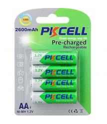 Аккумулятор PKCELL 1.2V AA 2600mAh NiMH Already Charged, 4 штуки в блистере цена за блистер, Q12