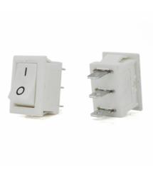 Переключатель ON-ON KCD1-102, 250VAC / 6A, 3 контакта, White, Q100