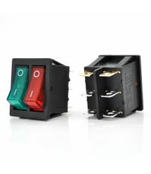Переключатель ON-ON KCD4-212N, 250VAC / 15A, 6 контактов, Red / Green, Q50 ( 245*170*41 ) 0,75 кг
