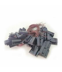 Датчик магнитоконтактный с проводом 30 см MC-38, 27*14*8 мм, пластик, черный, под саморез, липучка + саморезы, 20 штук в упаковк