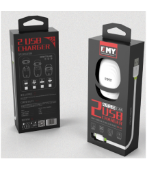 Набор 2 в 1 CЗУ With Iphone Cable 110-240V MY-228, 2 x USB, 5V - 12W, Output: 5V - 2.4A, White or Black, Blister- box