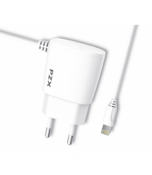 Набор 2 в 1 СЗУ With Iphone Cable 110-240V PZX C832E, 1xUSB, 2,1A, White, Blister-box