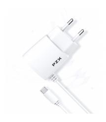 Набор 2 в 1 СЗУ With MicroUSB Cable 110-240V PZX C832E, 1xUSB, 2,1A, White, Blister-box