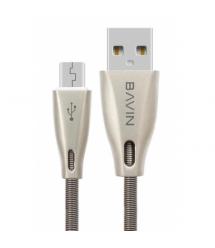 Кабель Bavin CB070, Micro-USB, 2.4A, Silver, длина 1,2м, BOX