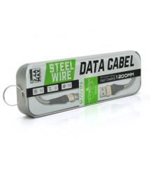 Кабель Bavin CB116, Micro-USB, 2.4A, Silver, СУПЕРкрепкий, conector gold, длина 1,2м, BOX