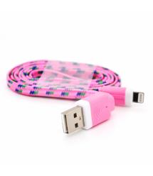 Кабель data Iphone5 - 5s - 5C - Ipad 4, 1m, (плоский) в оплетке, Pink, ОЕМ Q100
