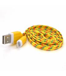 Кабель data Iphone5 - 5s - 5C - Ipad 4, 1m, (плоский) в оплетке, Yellow, ОЕМ Q100