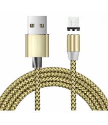 Магнитный кабель Ninja USB 2.0 - Micro, 1m, 2А, индикатор заряда, тканевая оплетка, бронированный, съемник, Gold, Blister-Box