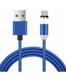 Магнитный кабель Ninja USB 2.0 - Micro, 1m, 2А, индикатор заряда, тканевая оплетка, бронированный, съемник, Blue, Blister-Box