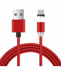 Магнитный кабель Ninja USB 2.0 - Micro, 1m, 2А, индикатор заряда, тканевая оплетка, бронированный, съемник, Red, Blister-Box