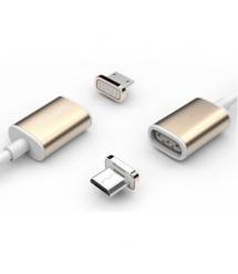 Магнитный кабель USB 2.0 - Micro, 1m, 2А, индикатор заряда, тканевая оплетка, съемник, Gold, Blister