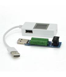 USB тестер LCDV03 напряжения (4-15V) и тока (0-4A) с проводом + нагрузка, White