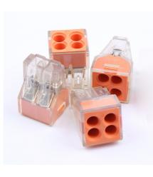 Клемма с зажимом 4-проводная WAGO K773-104 для распределительных коробок, 4-pin, прозрачно-оранжевая