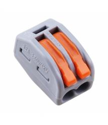 Клемма с нажимными зажимами 2-проводная WAGO K222-412 для распределительных коробок, 2-pin, серо-оранжевая