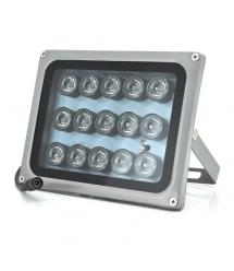 ИК прожектор YOSO 12V 15W, 15LED, IP66, 850Нм, угол обзора 60°, линза 8мм, дальность до 50м, 180*115*140мм, BOX