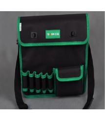 Сумка для монтажных инструментов TUOSEN, 5 кармашков, черно-зеленая, на пояс