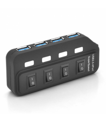 Хаб USB 3.0, 4 порта, с переключателями, поддержка до 2TB, 5Gb - s, кабель 0,6м, Блистер