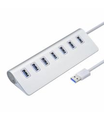 Хаб USB 3.0 алюминиевый, 7 портов, 20 см, поддержка до 2TB, Пакет
