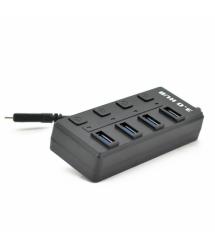 Хаб Type-C, 4 порта USB 3.0, 20 см, с кнопкой на каждый порт, Black, Blister