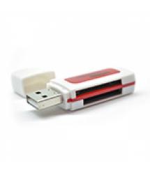 Кардридер универсальный 4в1 MERLION CRD-5RD TF - Micro SD, USB2.0, RED, OEM Q50