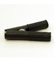 Зажим аккумуляторный крокодил черный 100А 95мм (плотный резиновый, рифленный кожух),Q100