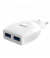 Набор 2 в 1 СЗУ With Iphone Cable 110-240V MY-A221, 2 x USB, 5V - 12W, Output: 5V - 2.4A, White, Blister- box, Q25