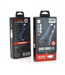 Набор 2 в 1 АЗУ With Iphone Cable DC12-24V MY-63, 2 x USB, 36W, Output: DC 3.6-6V - 3A 6-9V - 2A 9-12V - 1.5A, Black, B