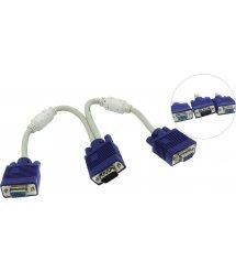 Разветвитель VGA 0,2m, male to 2*female (папа-2*мама), кулёк Q100