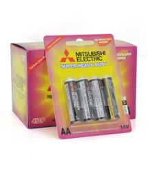 Батарейка Super Heavy Duty MITSUBISHI 1.5V AA - R6PU, 4pcs - card, 48pcs - inner box, 576pcs - ctn