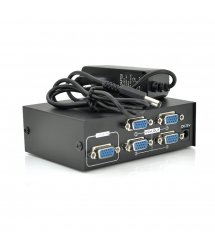 Активный сплиттер VGA сигнала KV-FJ1504A (VGA2004) 150MHz 4 Port, DC5V / 2A, Black