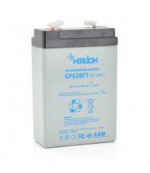 Аккумуляторная свинцово-кислотная батарея MERLION AGM GP628F1 6 V 2.8Ah White / Black Q20