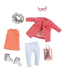 Набір одягу для ляльок LORI Червоне пальто з візерунком LO30014Z