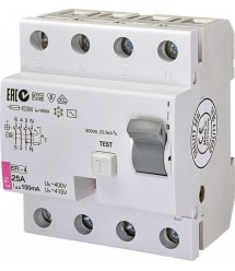 Реле диференційне (ПЗВ) ETI EFI-4 25/0,1 тип AC (10kA)