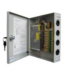 Импульсный блок питания 12V-10A / 9CH в боксе с замком перфорированный, 9-ти канальный, Q20