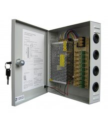 Импульсный блок питания 12V-15A / 9CH в боксе с замком перфорированный, 9-ти канальный, Q20