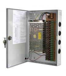Импульсный блок питания 12V-30A / 18CH в боксе с замком перфорированный, 18-ти канальный, Q14