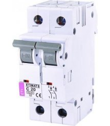 Автоматичний вимикач ETI ETIMAT 6 2p С 20А (6 kA)