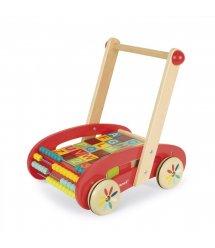 Іграшка-штовхач Janod Візок з кубиками 30 ел. J05379