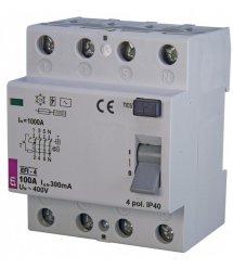 Реле диференційне ETI (УЗО) EFI-4: 100 / 0,3 тип AC (10kA)